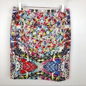T Tahari Neon Graffiti Pencil Skirt